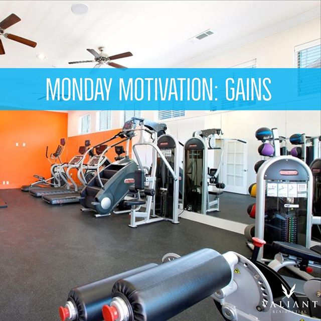 Who's #mondaymotivation is to hit up their community's gym to get in prime shape for the upcoming turkey day festivities?  Not just talking about muscle 💪 #gains here - Valiant Residential is always on the upbeat to gain new clients, residents, team members, and communities to live the Valiant lifestyle!  #bevaliant #propertymanagement #apartmentliving #realestate #texasproperties #multifamily #community #gym #fitness #healthyliving
