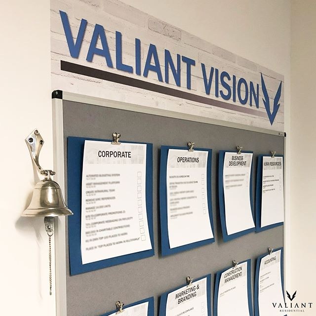 """If you see it, you will achieve it 🏆. The """"Valiant Vision"""" board is a new addition to our corporate office and outlines all of our 2019 #goals. (Coincidence that this also just happens to be #nationalvisionboardday?) 🤔 This visual reminder empowers all of us to get out there and crush it 💪. Added bonus - there's nothing like hearing the bell 🔔 ringing to signal that we accomplished another goal!  #bevaliant #propertymanagement #multifamily #texasproperties #apartmentliving #apartments #management #dallas #fortworth #austin #houston #living #vision #empowerment"""