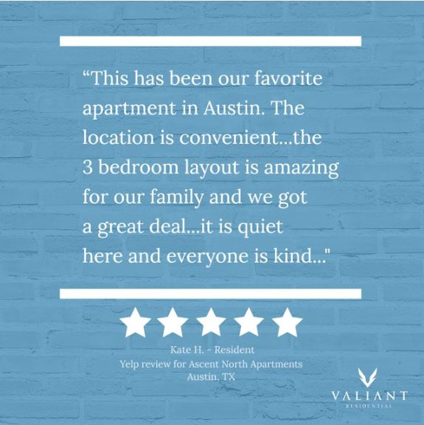 Located in the most desirable area of North Austin, @ascent_north has convenient access to the best shopping 🛍, top work locations 🏢, and beautiful parks 🌳. Interiors are meticulously designed with an aesthetic both modern & timeless. Find out more why residents give this community ⭐️⭐️⭐️⭐️⭐️ stars.  #bevaliant #propertymanagement #multifamily #texasproperties #apartmentliving #apartments #management #dallas #fortworth #austin #houston #living #tuesdayreviewsday #texashillcountry #atx #ascentnorth