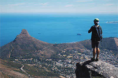 Hiking in the nearby mountains. We'll be conquering the all mighty Table Mountain (one of the New World Wonders) and Lions Head (the summit seen on the left side of the photo). Get ready for breathtaking views!