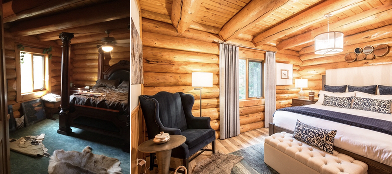 A refreshed log home redesign.