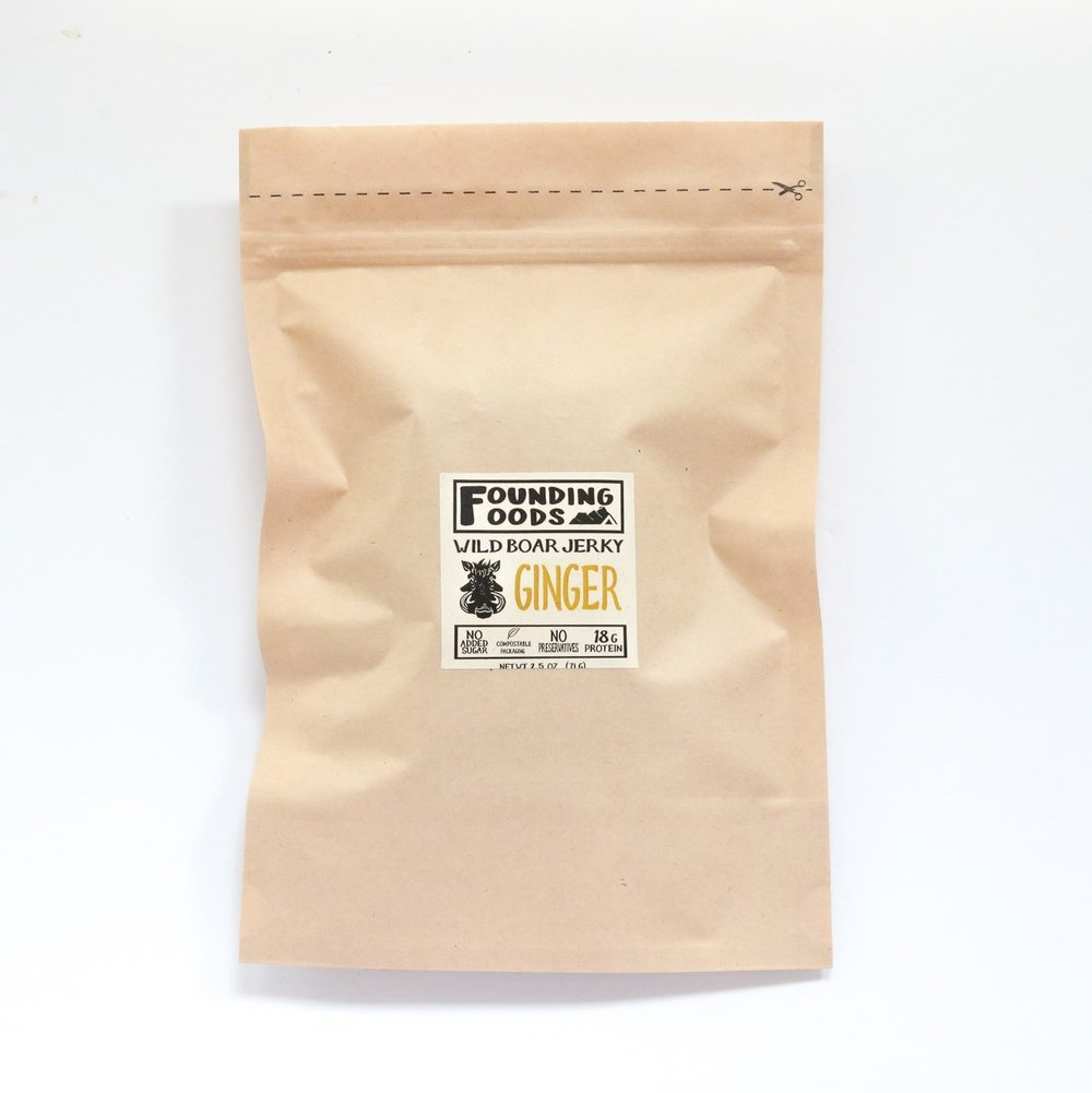 Founding Foods Ginger Wild Boar Jerky