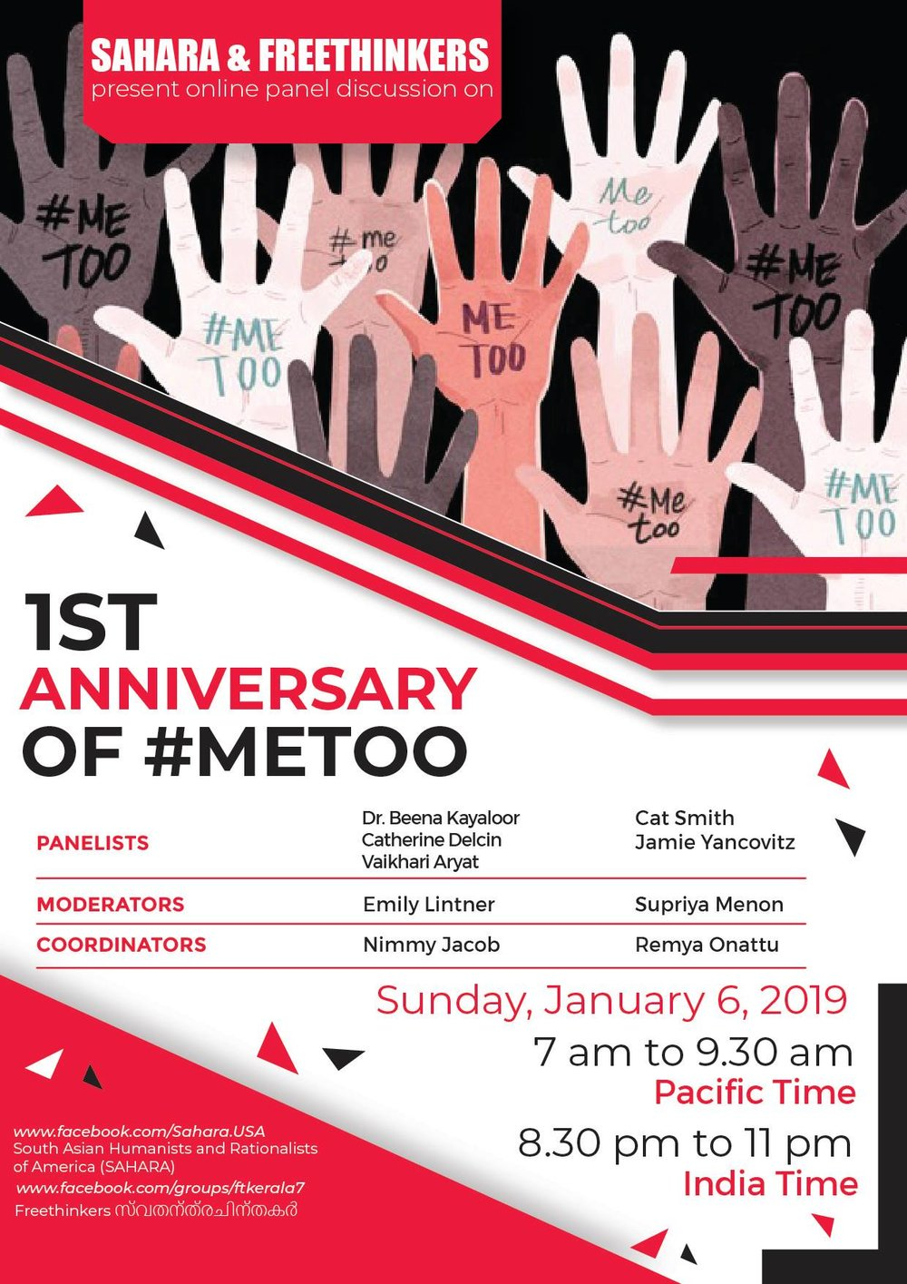 Panel Discussion on the 1st Anniversary of #MeToo - Hosted by South Asian Humanists and Rationalists of America and Freethinkers, this All Women's Panel features Survival Arts Academy Director, Jamie YancovitzDate: Sunday, January 6, 2019Time: 7:00-9:30am PSTLocation: YouTube (click for link)