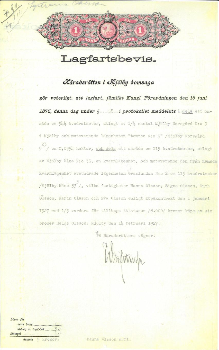 Kuriosa - Wienerbageriets lagfartsbevis från 1927