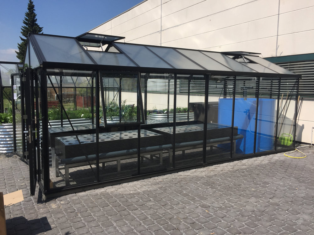 The Greenhouse - The black greenhouse of the brand Vitavia (type Poseidon 15700) consists of a solid, powder-coated aluminum profile with ESG safety glass on the side and hollow roof panels including four roof windows with automatic opening. It has the dimensions: 256 cm x 612 cm = approx. 15.70 m².