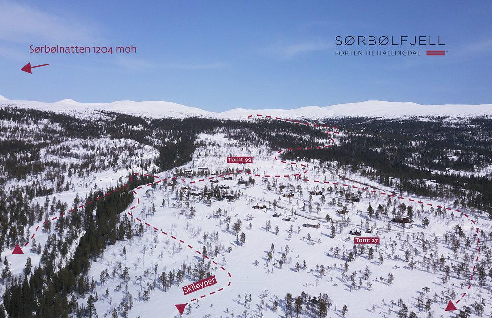 Oversiktskart over Sørbølfjell tomteområde. (Klikk for større bilde).