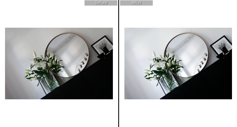 Lightroom before & after  // Increased exposure, contrast, highlights, whites, clarity. Decreased temperature, shadows, blacks, saturation. Afterwards upped the brightness in Photoshop (not shown).