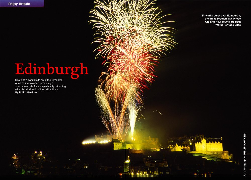 Edinburgh fireworks double page magazine spread