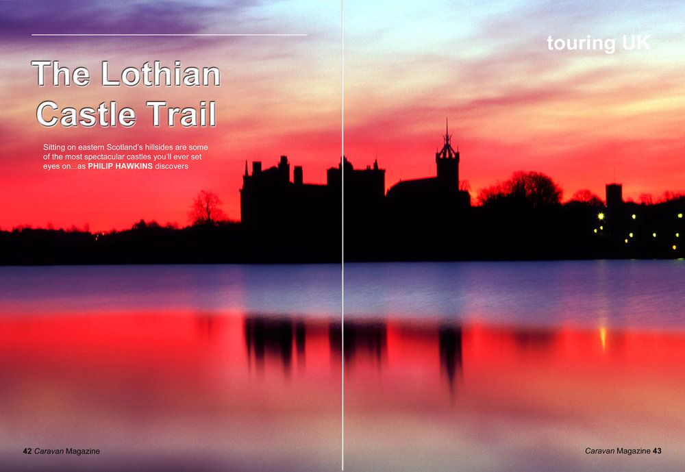 Linlithgow Loch double page magazine spread
