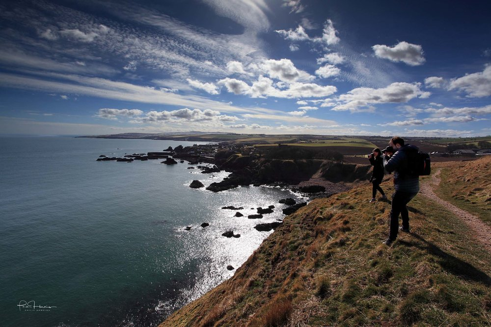 Putting a couple of clients through their paces on a recent Photography Training Day along the stunning St Abbs Head coastline. My most popular photography courses are the One-to-one Photography Training but I also do groups and workshops, too, as well as a few Photo Tours.