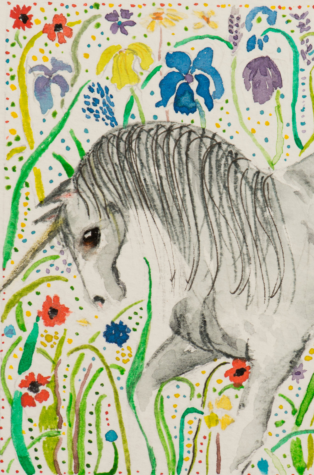 Unicorn in summer meadow - detail