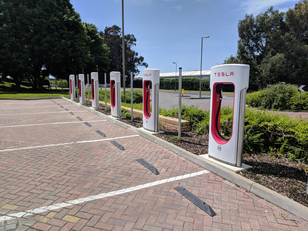 Tesla superchargers at Langstone Technology Park. Image taken by James O'Toole