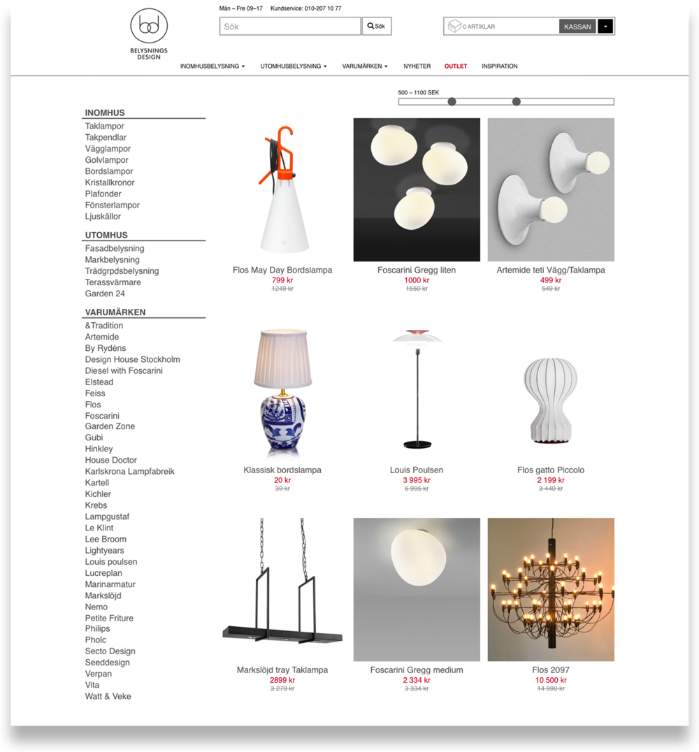 Product overview This page showcases a range of different lamps, sorted by category in the same manner as belysningsdesign.se. The outlet-price is highlighted in red.