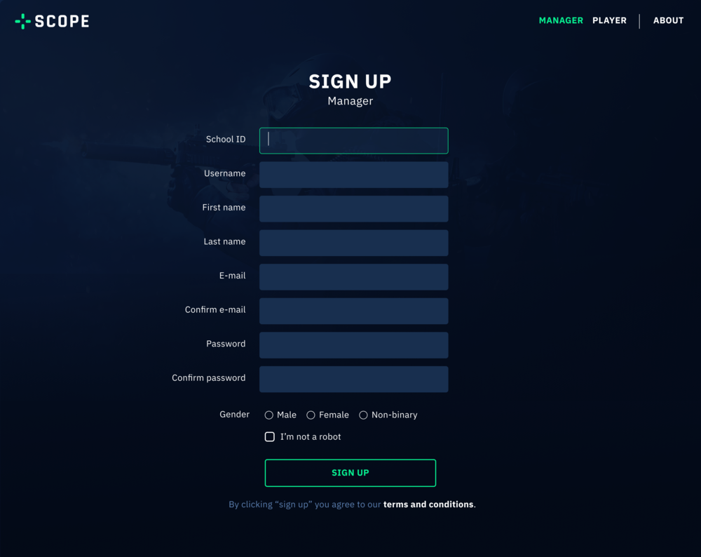 This is the sign up page for manager.