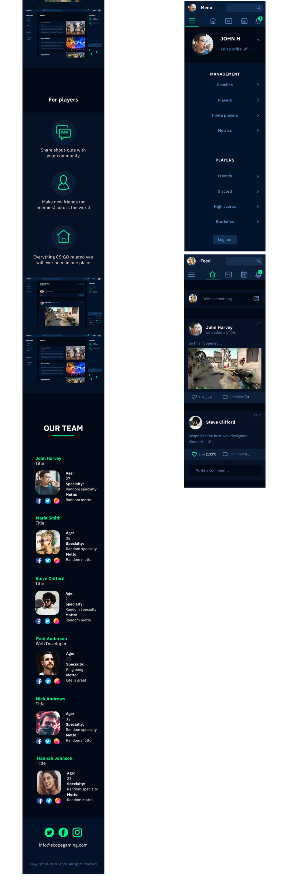 All the same pages in mobile version. The homepage to the right. And to the left: sign up for manager, manager logged in, manager menu, player logged in.