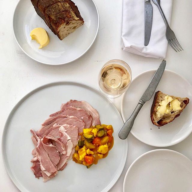 Middlewhite Ham, Piccalilli, freshly baked Sourdough Bread. Simple things, made with skill and love. . . From our feasting menu
