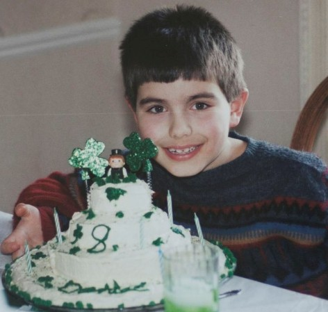 I spy the little leprechaun atop the cake! March 17, 1999