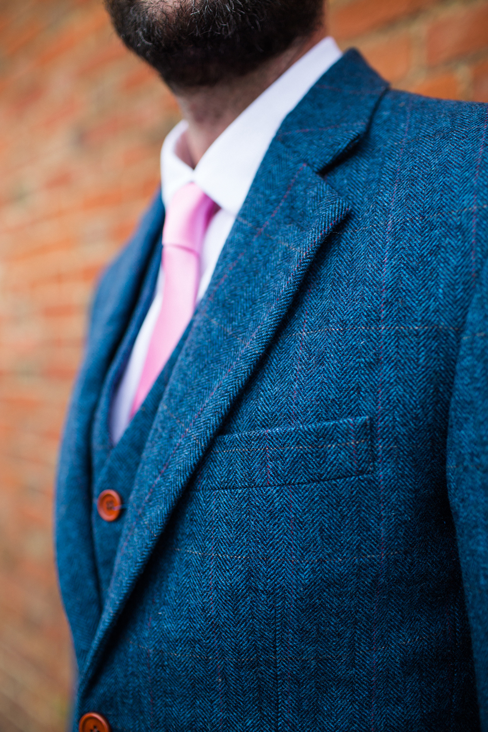 blue vintage wedding suit pink tie