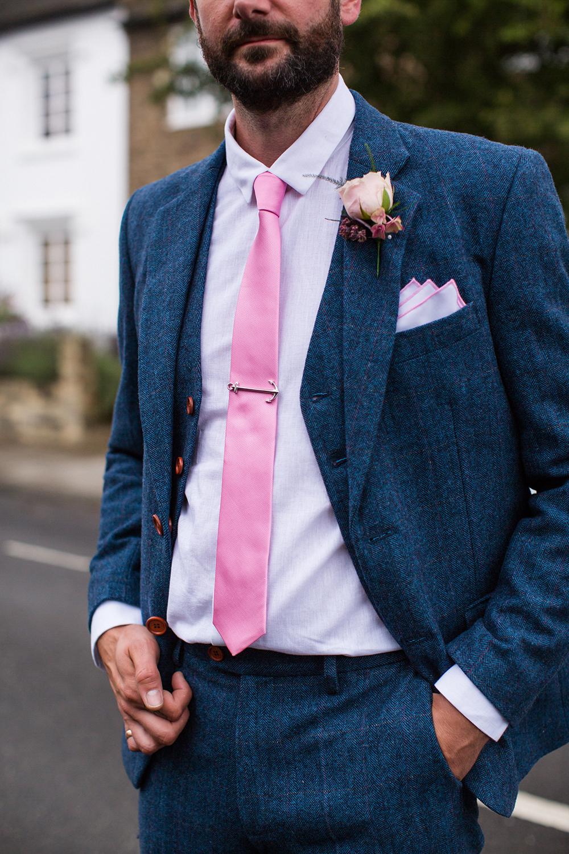 blue vintage suit pink tie