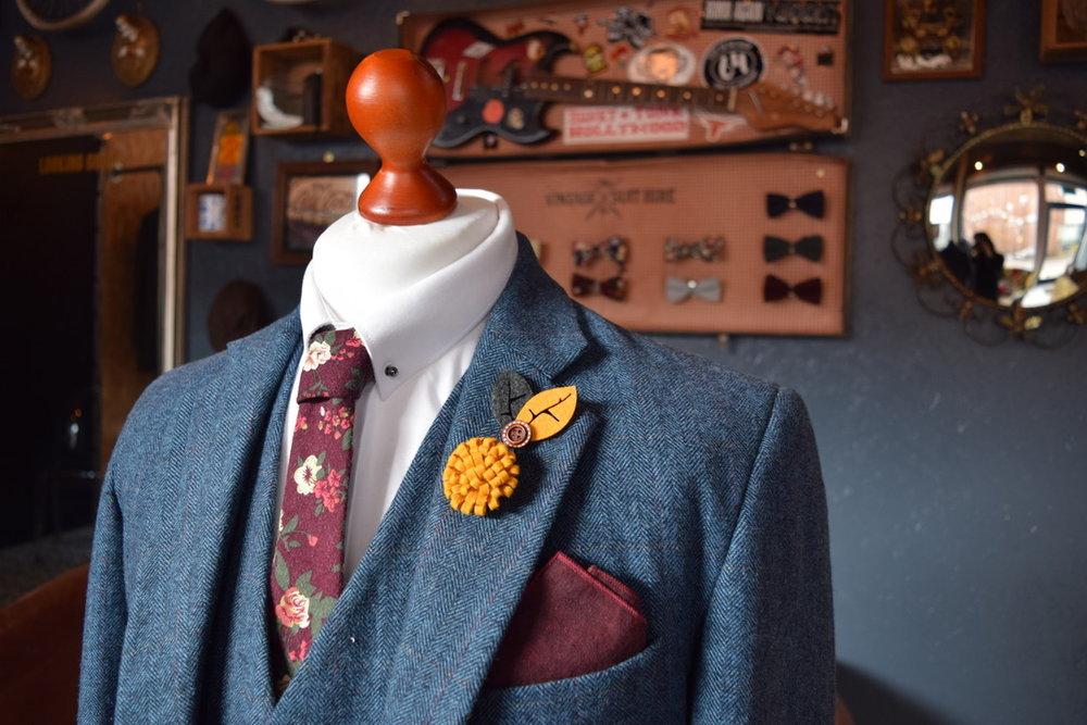 blue vintage wedding suit floral tie waistcoat
