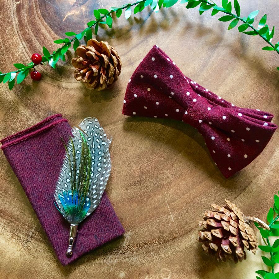 Vintage Suit Hire Co Cotton bow tie & pocket square & lapel pin (£20)