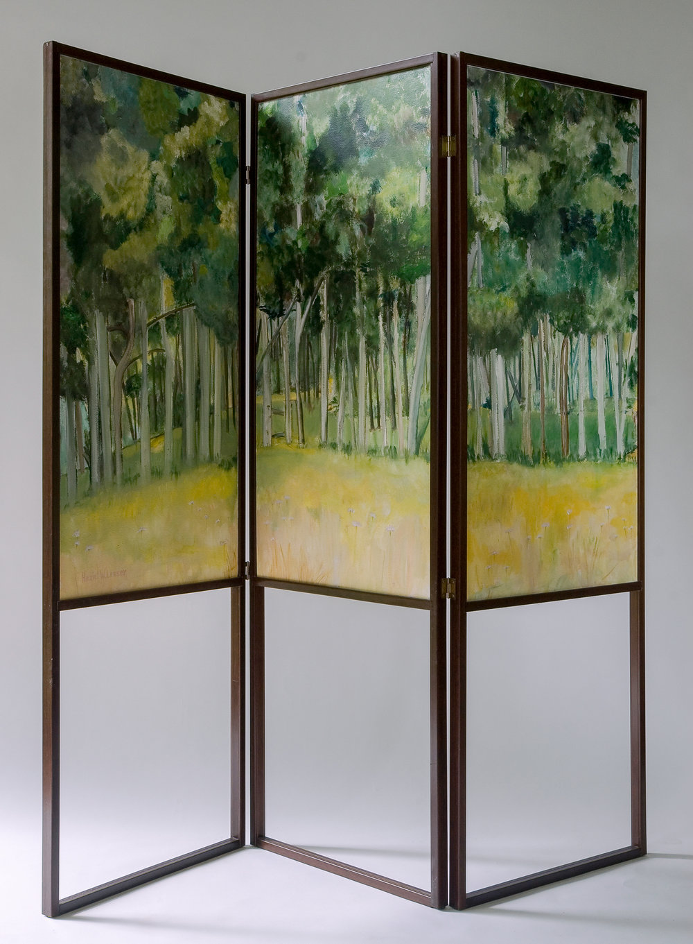 Two Walks to the Same Place  (alternate view) oil/paper/wood 36 x 72""