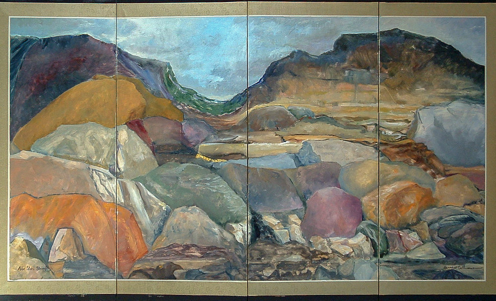 Boulders  oil on silk folding-screen 36 x 72