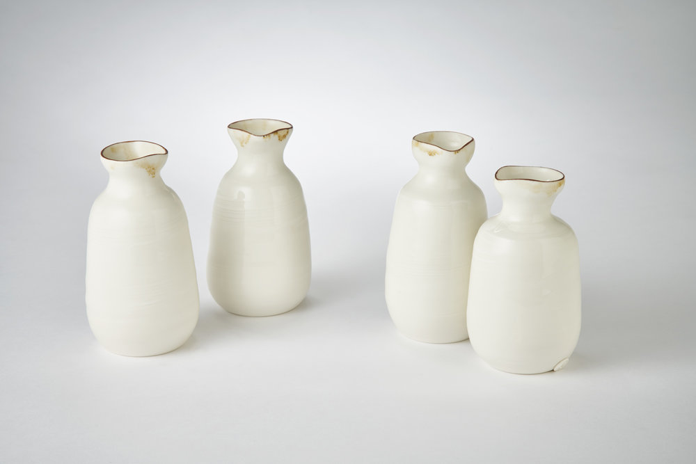 Adams K4 Ceramics porcelain oil pourers with bronze lustre rim, 4.5cm x 14.5cm, Photography Matthew Booth.jpg