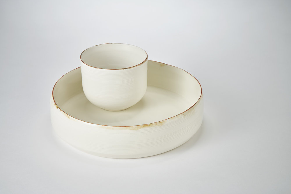 Kirsty Adams Ceramics porcelain flat shallow bowl 25cm x 6cm, dol and tin medium bowl 11.5cm x9cm. Photography Matthew Booth.jpg