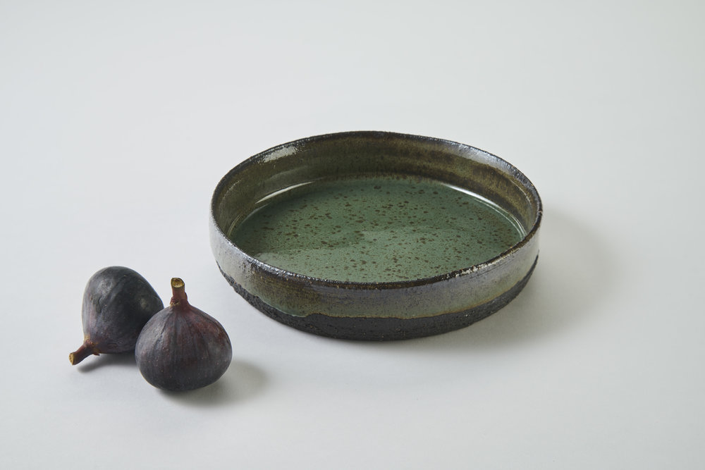 KA Ceramics small black stoneware small dish, copper green gloss, 5.5cm x 3.5cm.jpg
