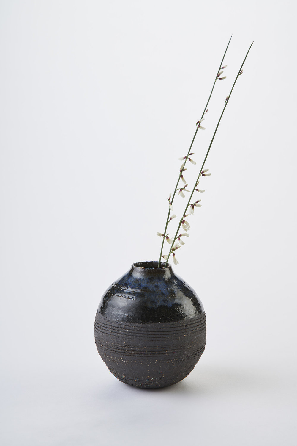 KA Ceramics black stoneware moon jar with cobalt gloss and dolomite and tin glazes,  3.5cm x 12.5cm. Matthew Booth photography.jpg