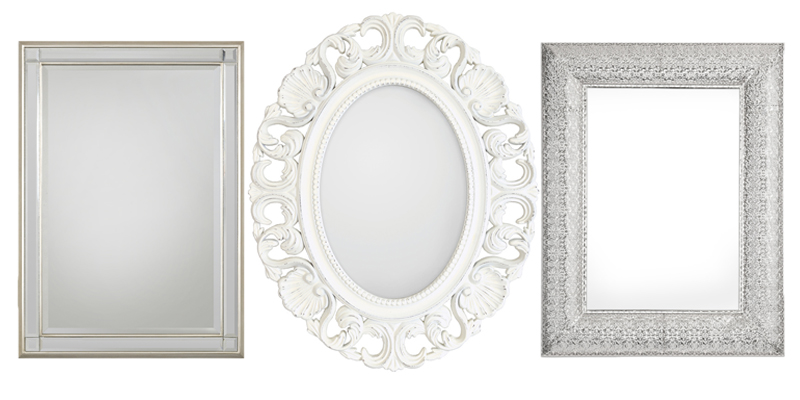 Mirrors featured above, left to right: ( Chelsea Champagne Rectangle Mirror ,  Casa Ornate Oval Antique White Mirror ,  Rectangular Marrakesh Mirror )  These mirrors are perfect to place on a wall in someone's living room. It adds decoration to a wall without making it look messy and disorganized. You can also choose between different styles and different colors to match the color scheme of the living room!  Which ever mirror you choose will be elegant and beautiful in the newlyweds home! We believe that the best and most memorable gift is a mirror from Selections By Chaumont!