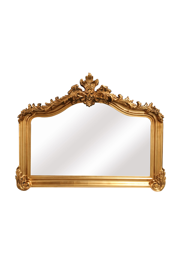 Antique brass mantel mirror