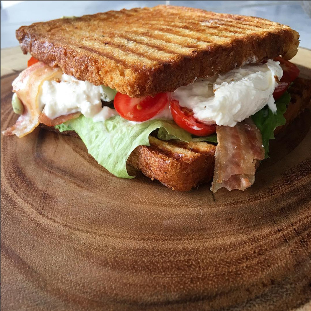 The BBLT - Burrata + Bacon + Lettuce + Tomato + house-made Pesto Aioli — $10available summer only
