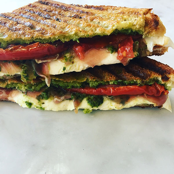 The Carle Place - Procuitto + Pesto + Roasted Tomato + Mozzarella — $10