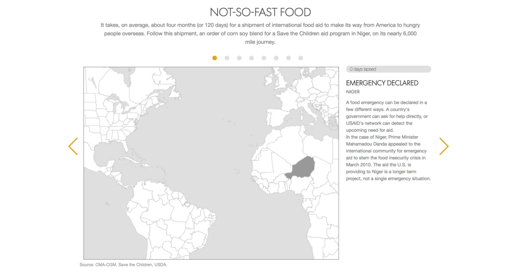 The Journey - Follow the long journey of a single shipment of food aid with d3 + JavaScript animations on a geoJSON base.
