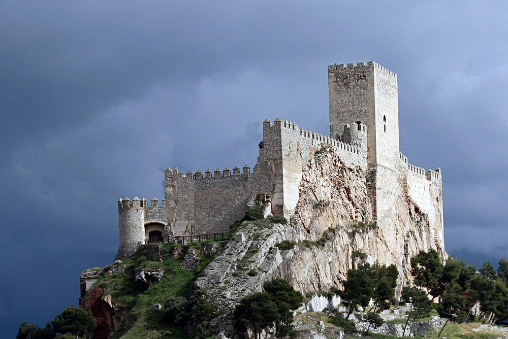 Castle of the Almansa wine region. Look for    Garnacha Tintorera   , a widely grown varietal in this wine region, on our bottle list! Garnacha produces deep-colored wines with plenty of dark-fruit characters.
