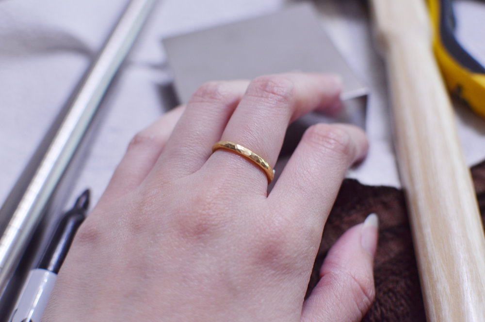 DIY HAMMERED WIRE RING 11