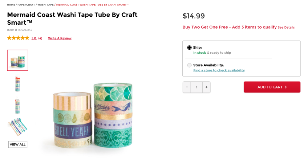 Photo from Michaels. Click to view Mermaid Washi. Tape.