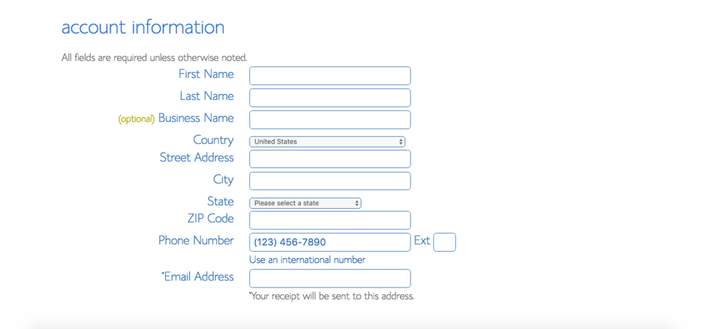 After sorting out your domain, enter your account information.