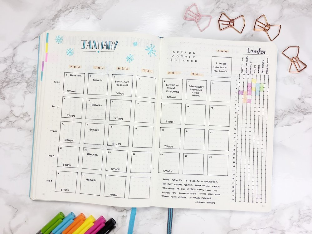 Kate Louise created this lovely monthly spread. Click to view her full post.