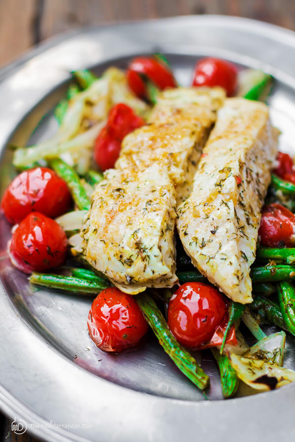THE MEDITERRANEAN DISH'S BAKED HALIBUT WITH VEGETABLES. CLICK FOR FULL POST AND RECIPE.