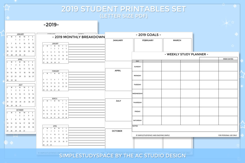SIMPLESTUDYSPACE - 2019 Student Printables and Digital Planning Set