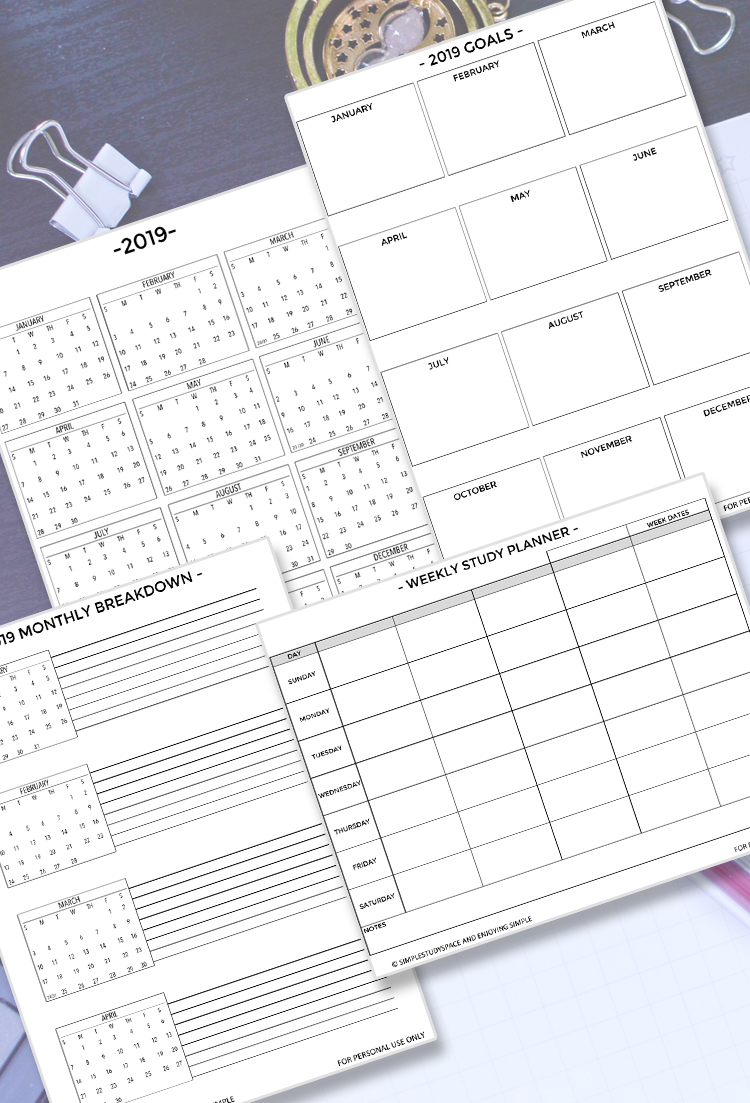image about Study Planner Printable named 2019 Scholar Printables and Electronic Developing Preset Having fun with