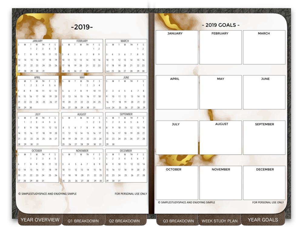 "You can also use the digital version as it is. I made it into a mini ""planner"" with working hyperlinks (if used with GoodNotes) or other planner apps."