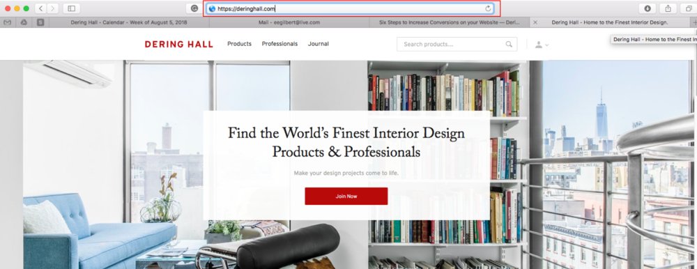 "The Dering Hall website leads with ""https,"" which yields better search results and improved consumer confidence."