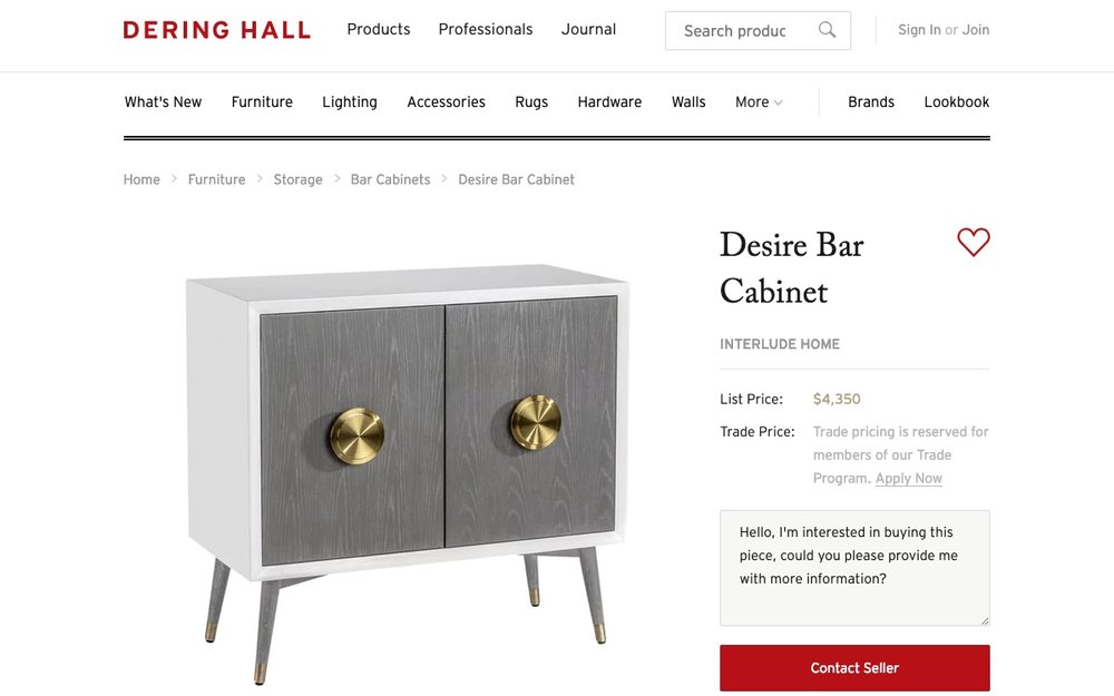 The  Desire Bar Cabinet  from Interlude Home includes list pricing on Dering Hall