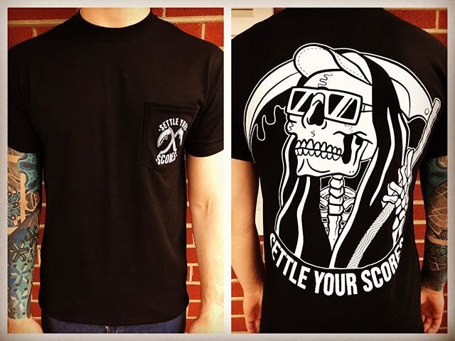 Tour starts tomorrow. Come cop this sick reaper tee at a show! #new #fashion #merch #poppunk #reaper #tour #settleyourscores #band