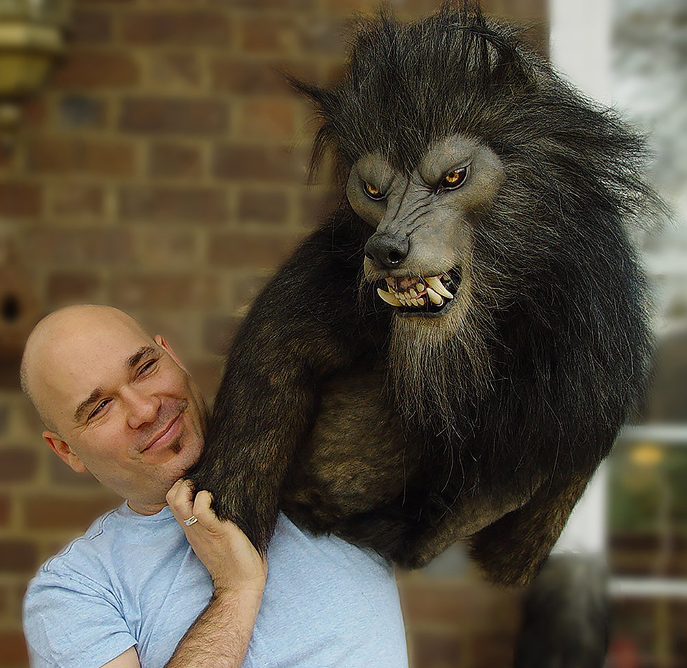 Lee Romaire with werewolf puppet
