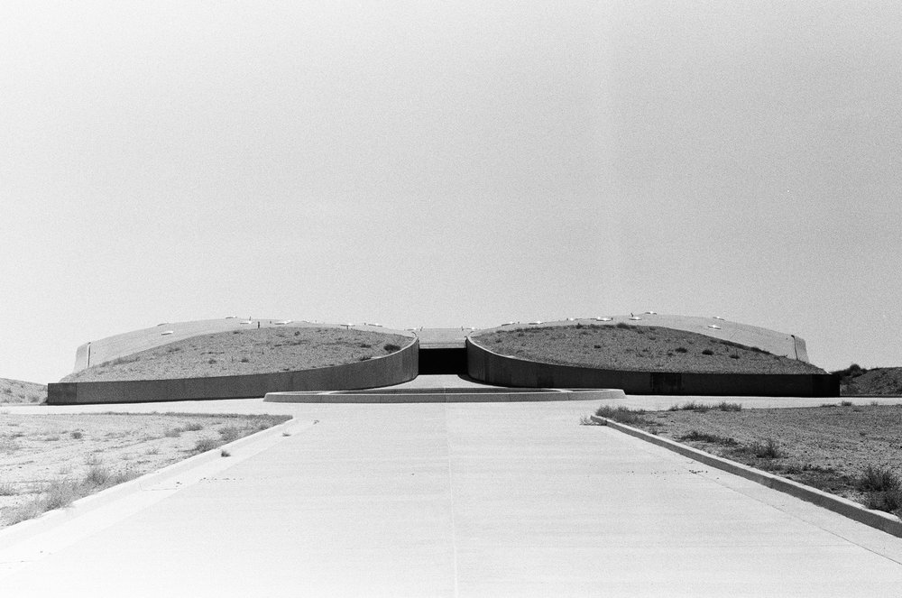 The front entrance to Spaceport America.  Porter McDonald (35 mm B&W)